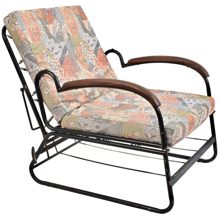 Adjustable Bed Armchair with Marcel Breuer Style Metal and Wood Structure, 1930s For Sale