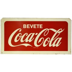 1960s Double-Sided Italian Metal Screen Printed Bevete Coca-Cola Sign