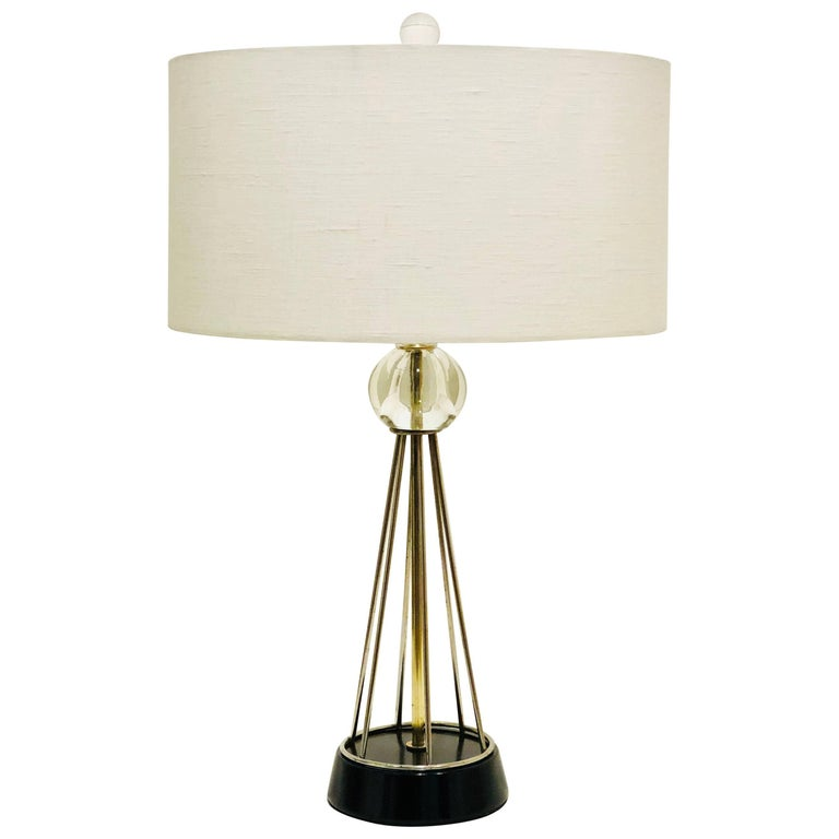 American Mid-Century Modern Atomic Age Brass and Glass Lamp
