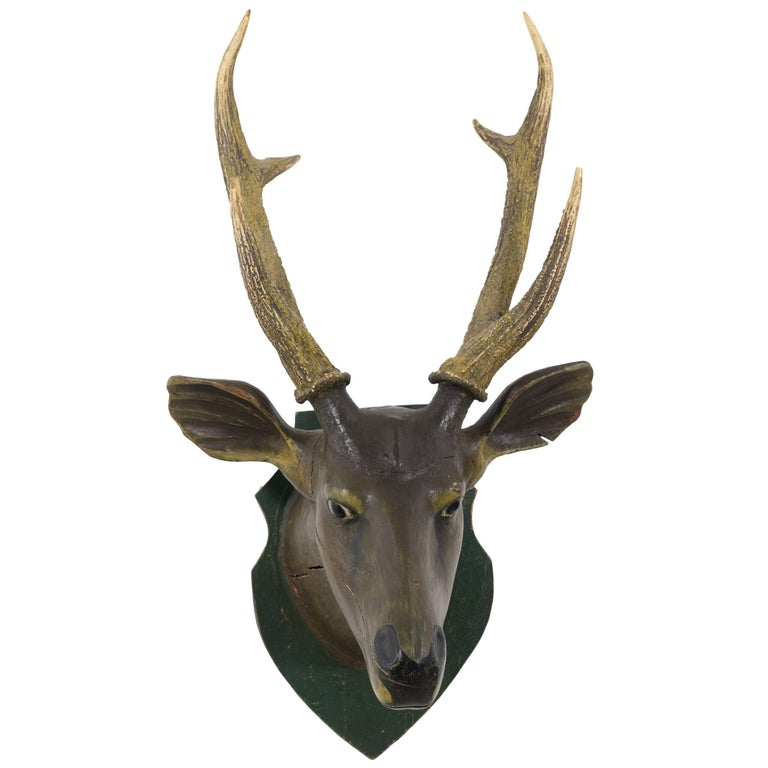 Carved and Painted Deer Head by Axel Gustafson