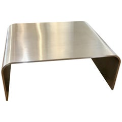 High Polished Metal Streamline Modern Waterfall Coffee Table, Late 20th Century