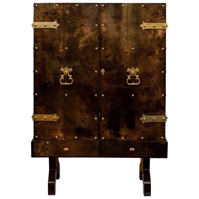 Extraordinary Aldo Tura Bar Cabinet in Tortoise Goatskin For Sale