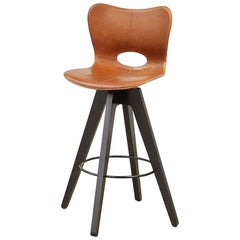 AKMD Collection Leather and Wood Lariat Barstool