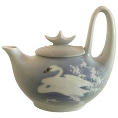 Royal Copenhagen Coffee Pot No. 8270 with Unique Swan Motif by Marianne Höst