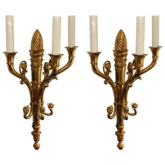 Elegant Pair of Regency Neoclassical French Empire Gilt Doré Bronze Lion Sconces