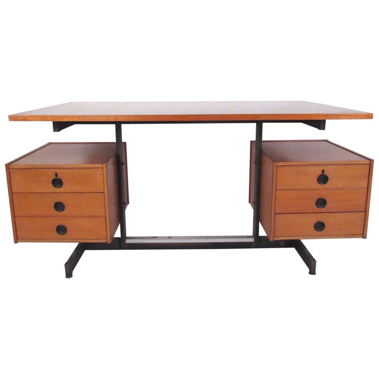 Vintage Modern Floating Top Desk For Sale