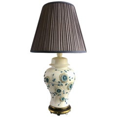 Blue and White Floral Porcelain Ginger Jar Table Lamp