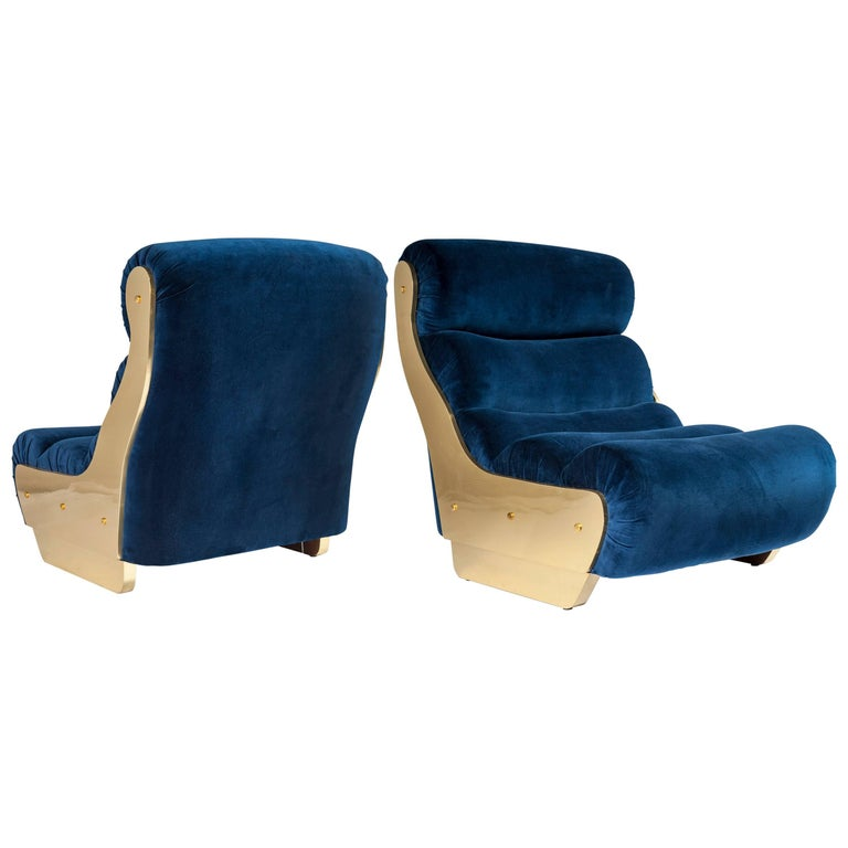 Pair of Electric Blue and Brass Armchairs