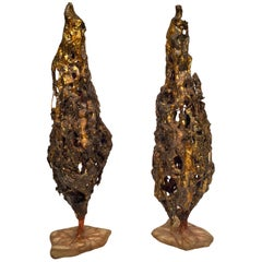 Maurício Bentes Brazilian Pair of Resin, Gold and Copper Tree Sculptures