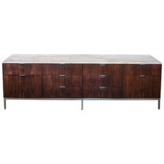 Florence Knoll Rosewood Credenza with Carrara Marble Top