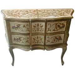 French XIX Hand Painted Hand Carved 3 Drawer Commode.