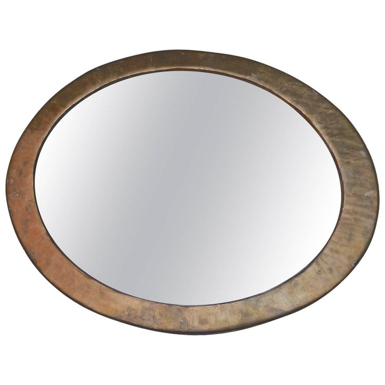 French 19th Century Oval Gold Painted Wood Framed Mirror with ...