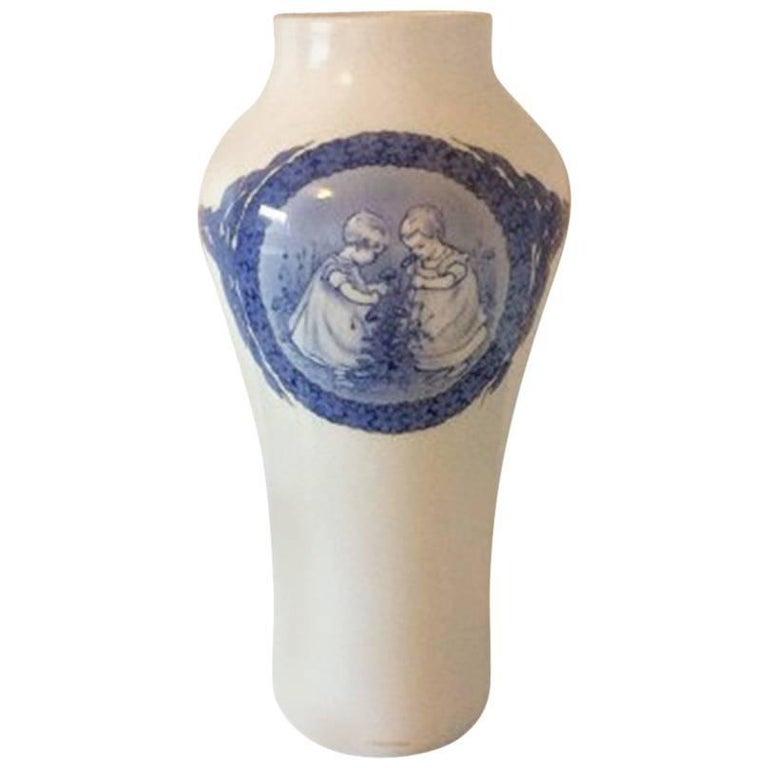 Royal Copenhagen Unique Vase by Cathrine Zernichow from 1917 Motif of Children For Sale