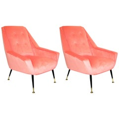 Pair of 1950s Italian Lounge Chairs in the Style of Gigi Radice