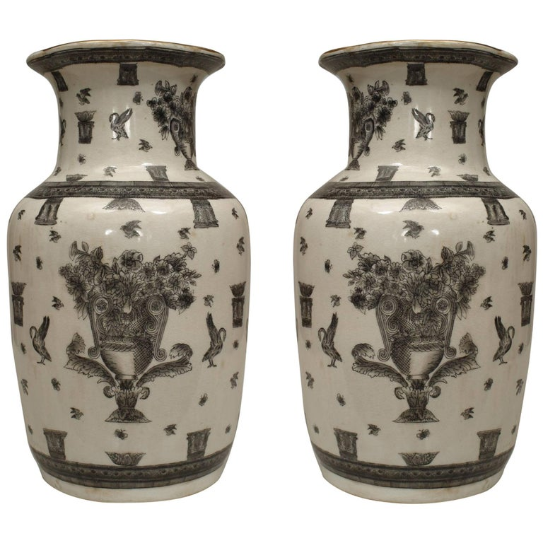 Pair Of Asian Chinese Style 19th Century White And Black Decorated
