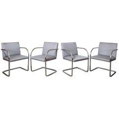 Set of Four Tubular Brno Chairs by Brueton in Original Fabric