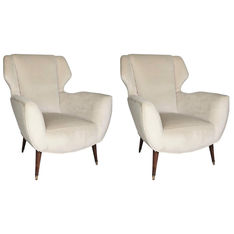 Pair of 1950s Italian Lounge Chairs in the Style of Ico Parisi in Velvet