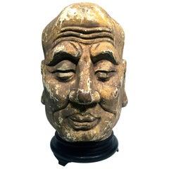 China Sec XVIII Buddha Head in Polychrome Wood