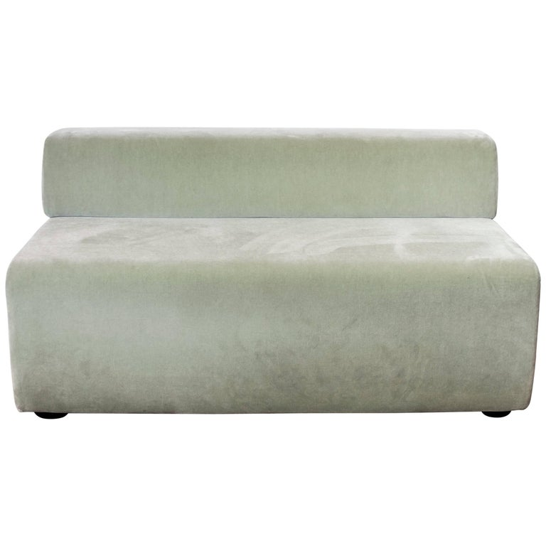 Armless Settee or Bench in Sea Foam Mohair