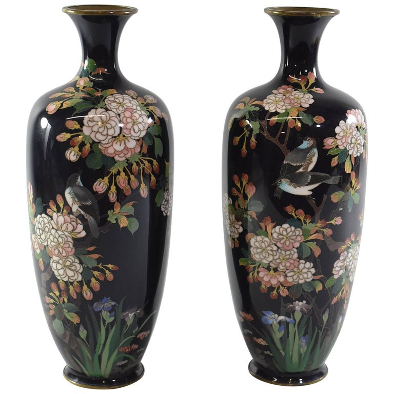 Pair of Black Japanese Cloisonne Vases with Blue Birds, Cherry Blossoms and Iris