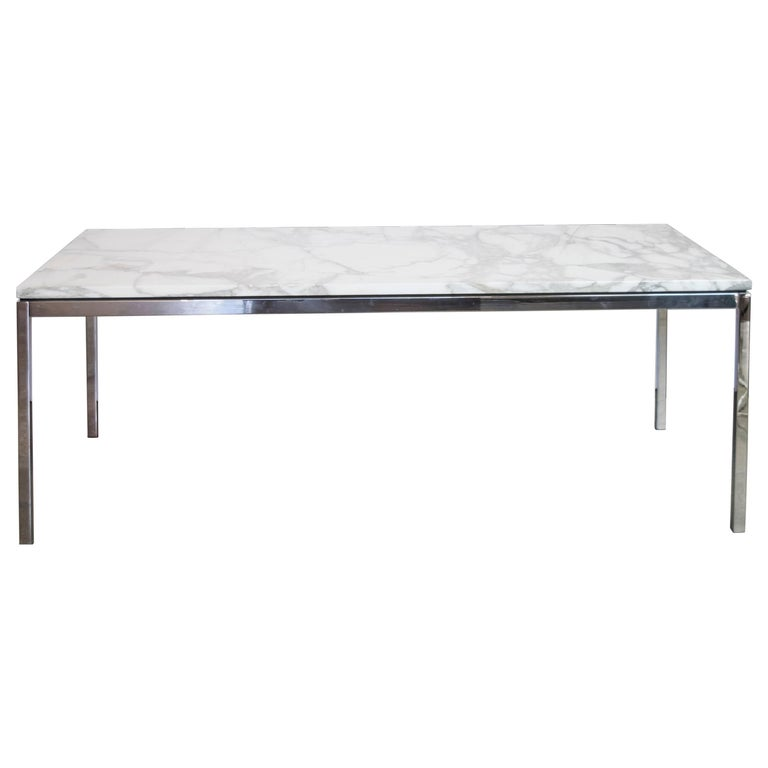 Florence Knoll Chrome and Carrara Marble-Top Coffee Table