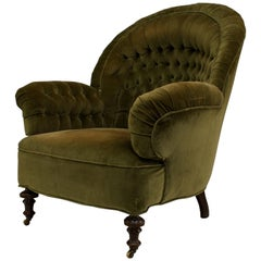 "English Victorian ""Turkish"" Style Round Back Easy Chair"