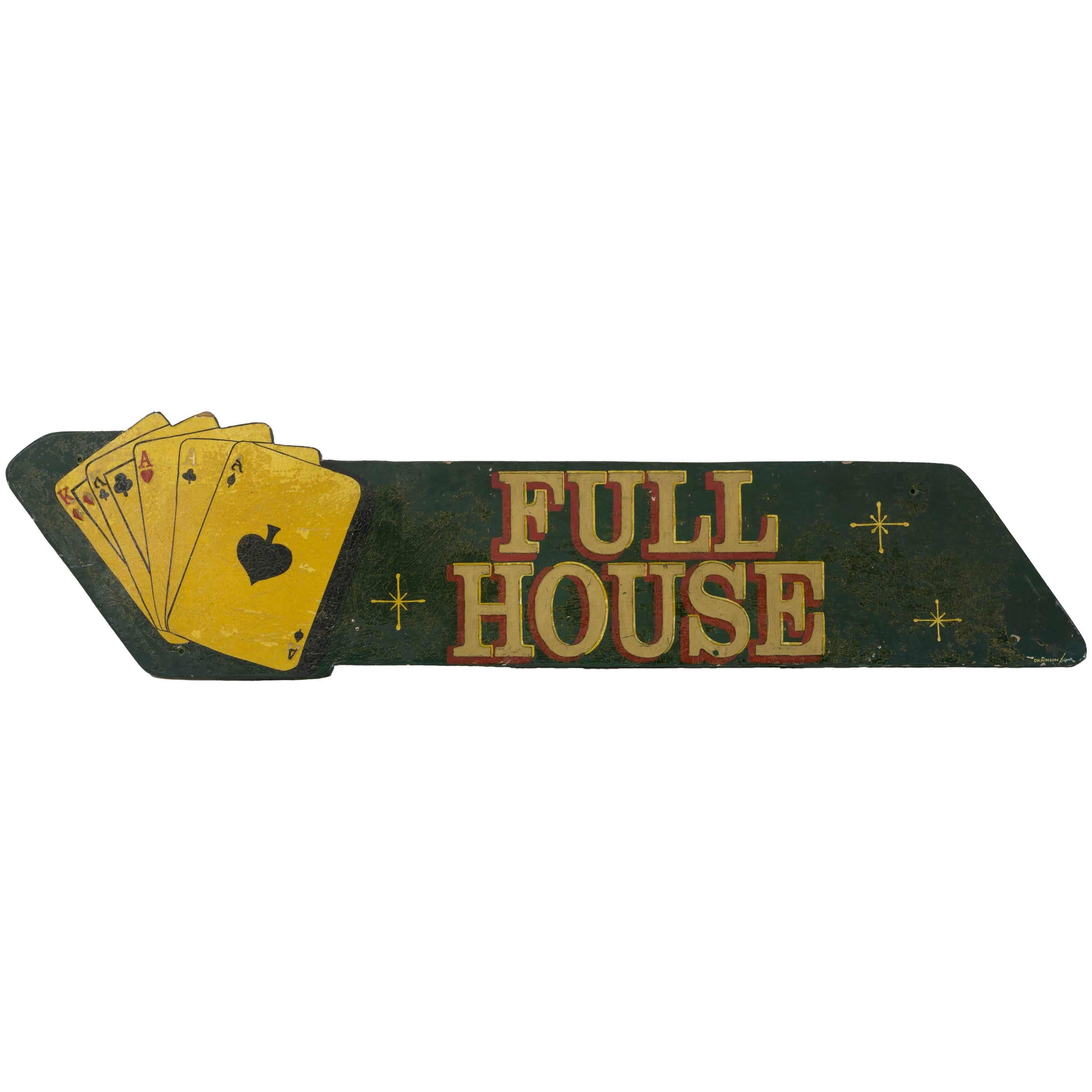 """Painted """"Full House"""" Card Sign"""
