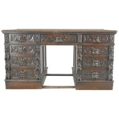 Antique Pedestal, Carved Oak Desk, Scotland, 1880