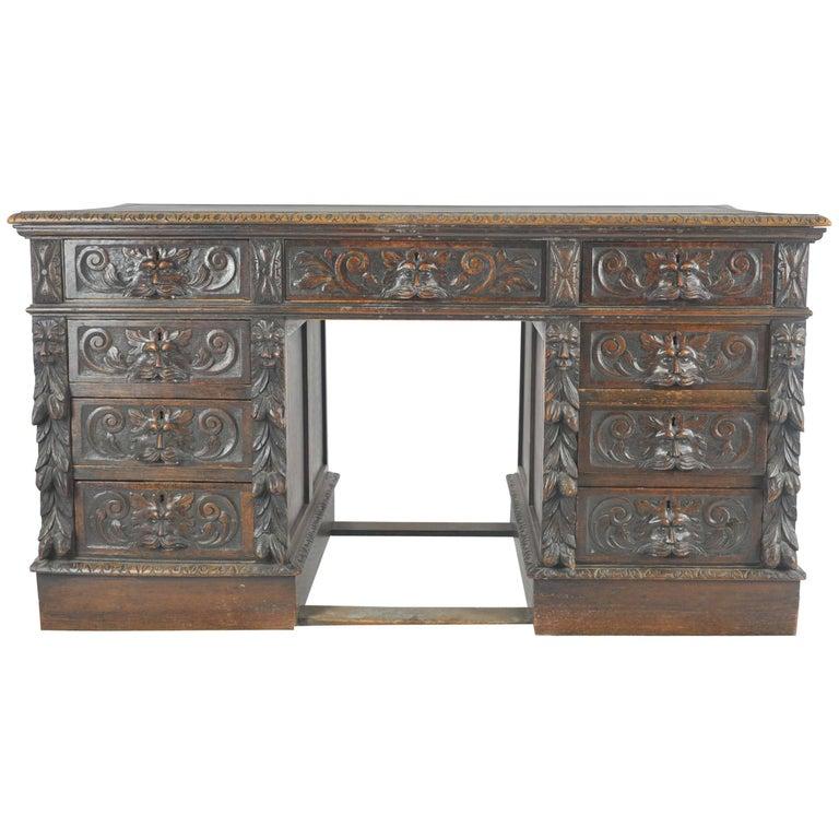 Antique Pedestal, Carved Oak Desk, Scotland, 1880