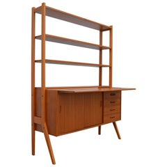 Swedish Mid-Century Modern Teak Desk and Hutch