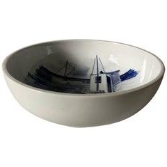 Royal Copenhagen Unique Bowl by Lars Swane with Motif of Asaa Harbor, Vendsyssel
