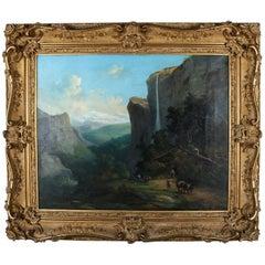 Antique German Oil on Canvas Landscape by Karl Friedrich C. Welsch