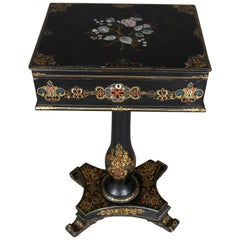 Antique Lacquered Hand-Painted and Mother-of-Pearl Inlaid Paper Mache Sewing Box