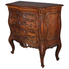 Italian Rococo Style Carved Walnut Two-Drawer Bombe Commode, circa 1940