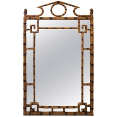 Vintage Faux Bamboo Pagoda Wall Mirror Greek Key