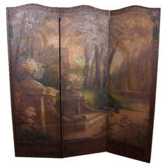 Antique French Louis XVI Style Hand-Painted Garden Three-Panel Dressing Screen