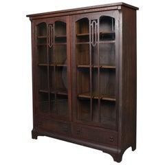 Arts & Crafts Gustav Stickley School Mission Oak Two-Door, Two-Drawer Bookcase