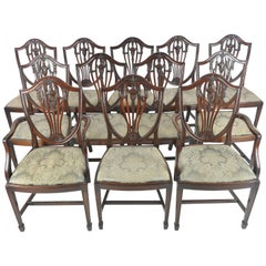 12 Dining Chairs, Antique Dining Chairs, Hepplewhite Chairs, Mahogany, B1071