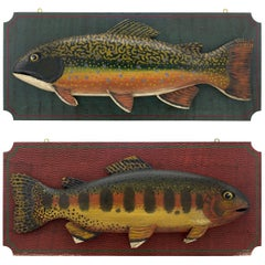 Pair of Colorful Fish Plaques