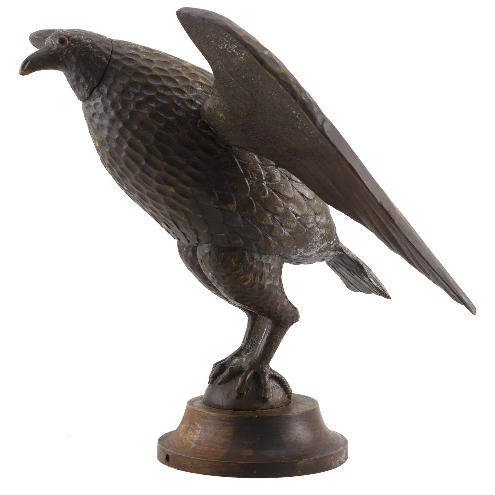 Carved and Painted Eagle on Stand