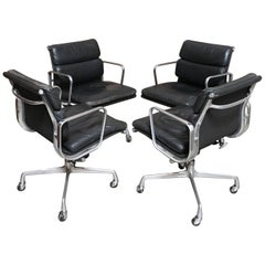 Set of Four Eames for Herman Miller Black Soft Pad Management Chairs