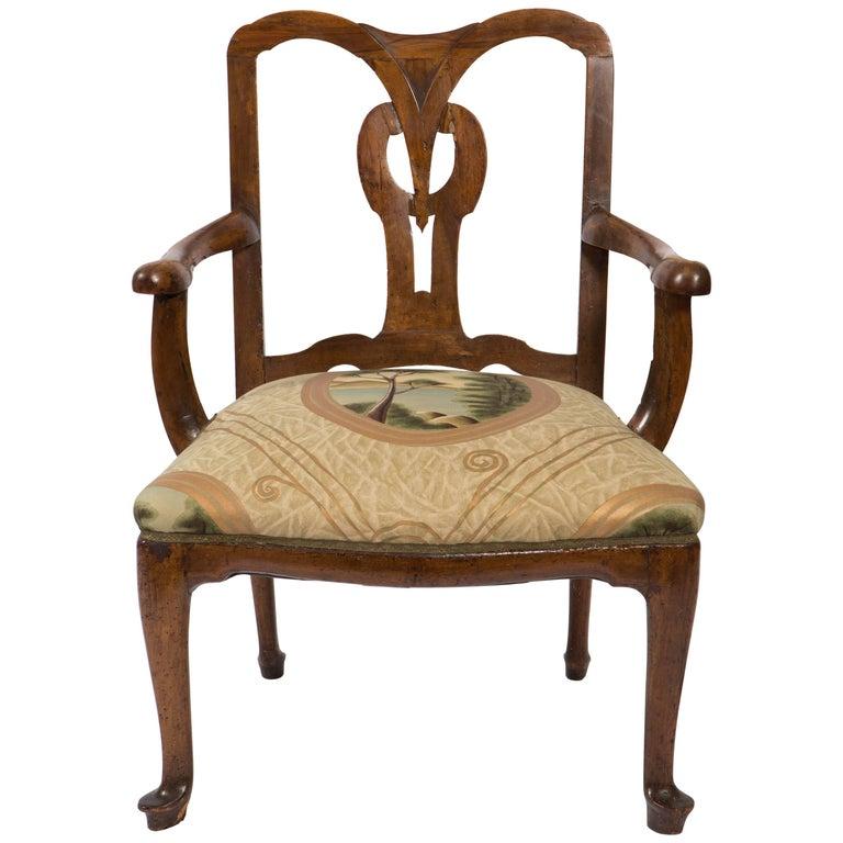 18th Century Walnut Italian Open Back Armchair