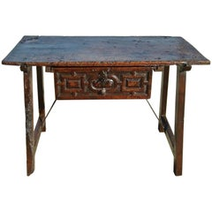 17th Century Spanish Trestle Leg Table, Walnut and Oak