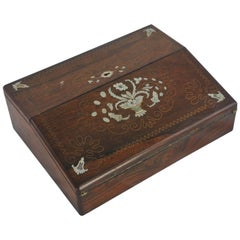 Antique Writing Slope, Victorian Lap Desk, Rosewood Mother-of-Pearl, 1870