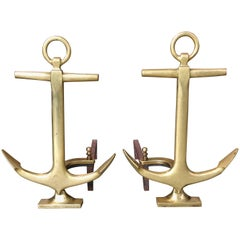 Pair of Brass Anchor Andirons