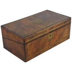 Writing Slope, Antique Victorian Lap Desk, Marine Walnut Brass, Scotland, B1096