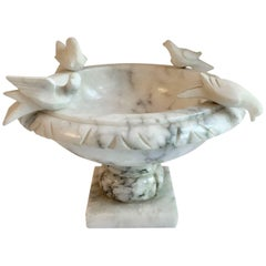 Marble Footed Bowl with Carved Birds