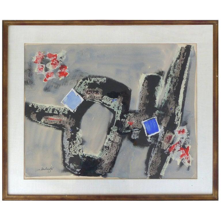 Original Abstract Water Color by Jun Dobashi, Signed 1961