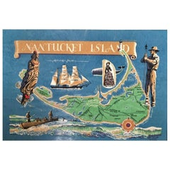 Hand Colored Map of Nantucket by Sol Levenson, 1981