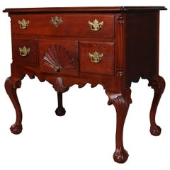 Antique Baker School Chippendale Style Three-Drawer Caved Mahogany Lowboy